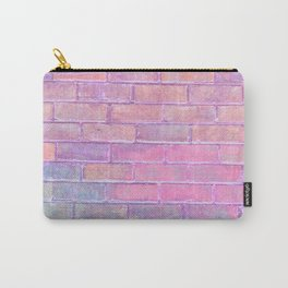 pink and lavender distressed painted brick wall ambient decor rustic brick effect Carry-All Pouch