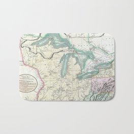 Vintage Map of The Great Lakes & Midwest (1801) Bath Mat