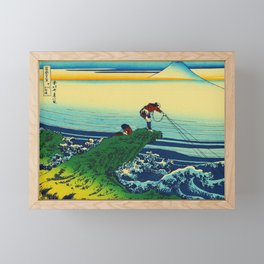 Vintage Japanese Art - Man Fishing Framed Mini Art Print