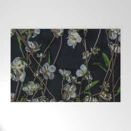 White Flowers Welcome Mat