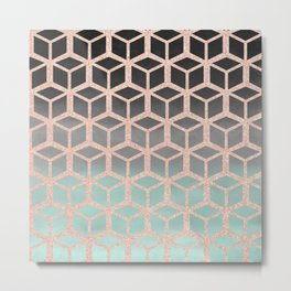 mint ombre with rose gold hexagons Metal Print