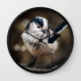Fluffy The Long-Tailed Tit Wall Clock
