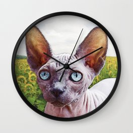 Cat In Sunflowers Wall Clock