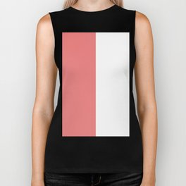White and Coral Pink Vertical Halves Biker Tank