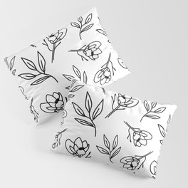 Magnolia and Leaves Pattern Design Pillow Sham