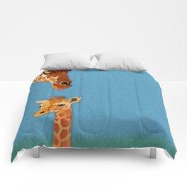 mom and baby giraffe Comforters