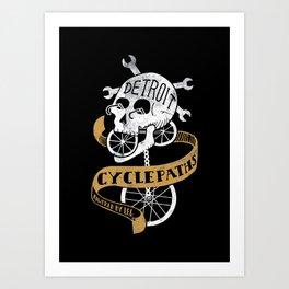 Detroit Cyclepaths Black Art Print