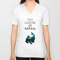the legend of korra V-neck T-shirts featuring The Legend of Korra [1/2] by Shane Lewis