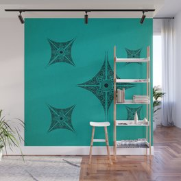 Pata Patterns in Black on Cyan Wall Mural