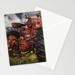 Abandoned Old Farmall Tractor in a Grassy Field on a Farm Stationery Cards