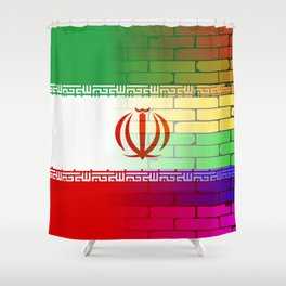 Gay Rainbow Wall Iranian Flag Shower Curtain