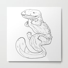 Eastern Hellbender Outline Metal Print