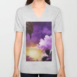 Lilac Living, Lavender Sunset, Purple Sunset, Purple Beach Print, Purple Beach Sunset Art Unisex V-Neck