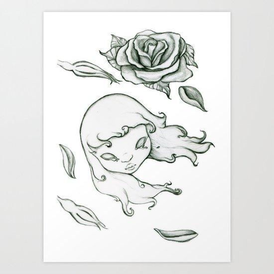 Rose in the wind Art Print