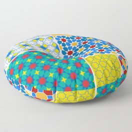 Moroccan pattern, Morocco. Patchwork mosaic with traditional folk geometric ornament. Tribal orienta Floor Pillow
