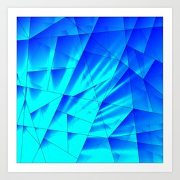 Bright sunshine on celestial and blue triangles of irregular shape. Art Print