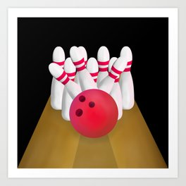 Tenn Pin Bowling STRIKE Art Print