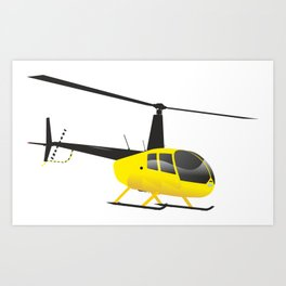Light Black and Yellow Helicopter Art Print