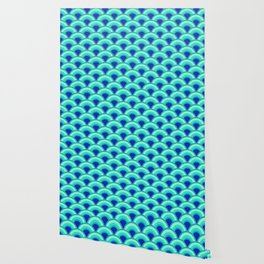 Art Deco Wave Pattern, Turquoise and Cobalt Blue Wallpaper