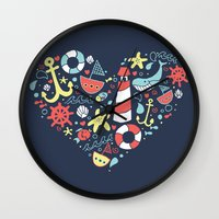 nautical Wall Clocks featuring Nautical by lindsey salles