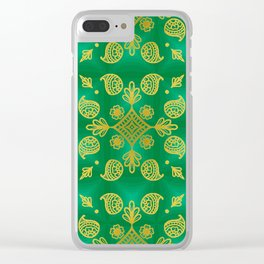 Gold design on green background Clear iPhone Case