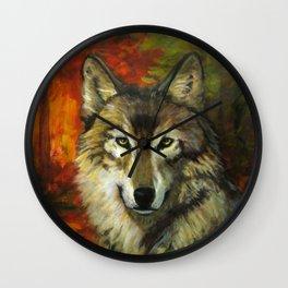 October Wolf Wall Clock