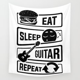 Eat Sleep Guitar Repeat - String Music Instrument Wall Tapestry