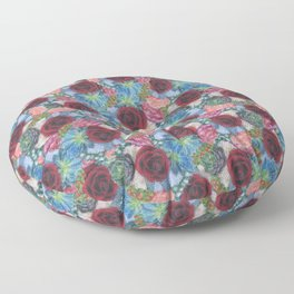 Garden Bouquet  through Stained Glass Floor Pillow
