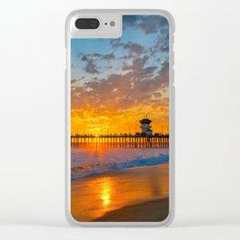 Painted Sky Over Huntington Beach Pier. Clear iPhone Case