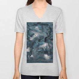 Blue Ink Galaxy Nebula Dream #1 #decor #art #society6 Unisex V-Neck