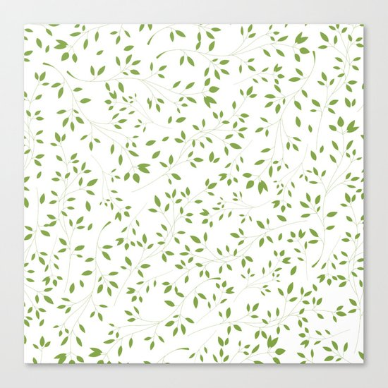 Leaves Pattern in Green & White Canvas Print
