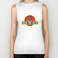parks Biker Tanks featuring Jurassic Parks And Rec by anthonykun