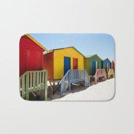 Colorful beach huts Bath Mat
