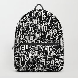 alphabet letters black and white - typography font  pattern Backpack