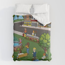 A Digital Day at the Fountain Duvet Cover