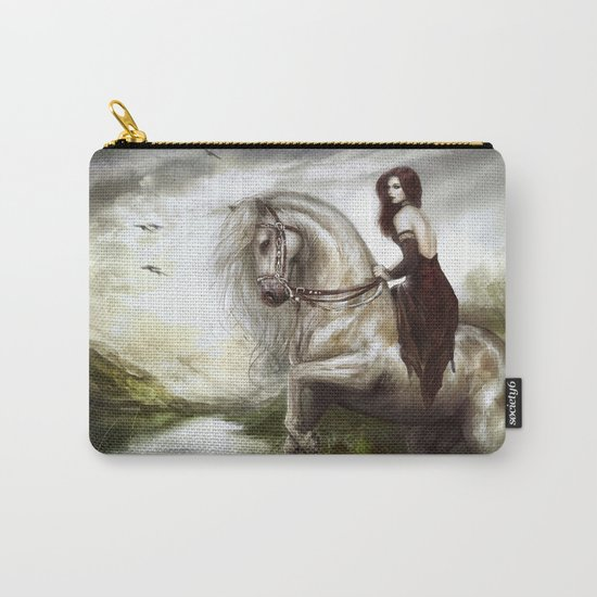 Morning welcome - Royal redead girl riding a white horse Carry-All Pouch