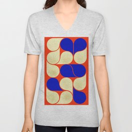 Mid-century geometric shapes-no10 Unisex V-Neck