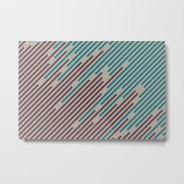 Deep Purple Taupe Gray Aqua Diagonal Line Pattern 2021 Color of the Year Epoch and Accent Shades Metal Print