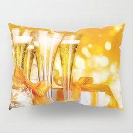 Happy New Year Christmas decoration champagne New Year Party ribbons glare Christmas Pillow Sham