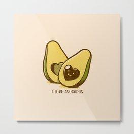 I Love Avocados Metal Print
