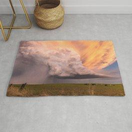 Storm Runner - Thunderstorm in Golden Light Over Kansas Landscape Rug
