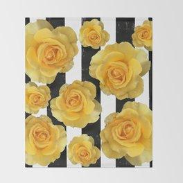 Yellow Roses on Black & White Stripes Throw Blanket