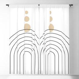 Mid Century Modern Geometric 35 (Rainbow and Rain, Black and Beige) Blackout Curtain