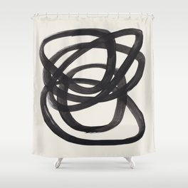 Mid Century Modern Minimalist Abstract Art Brush Strokes Black & White Ink Art Spiral Circles Shower Curtain