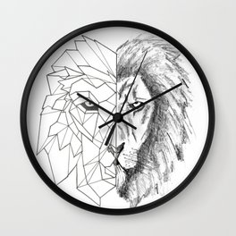 """""""Half Geometric Lion Head"""" Wall Clock"""