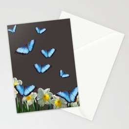Daffodils Flowers blue Morph Butterfly - black background Stationery Cards