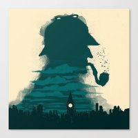 sherlock holmes Canvas Prints featuring Sherlock Holmes by Electra