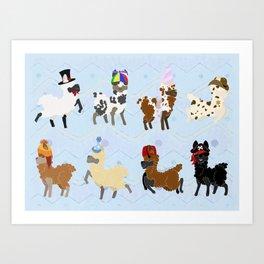 Llamas In Hats Art Print
