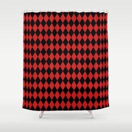 Black & Red Harlequin Pattern Shower Curtain