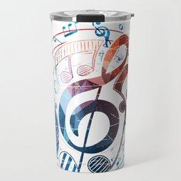 Music Notes And Treble Clef Circle Travel Mug